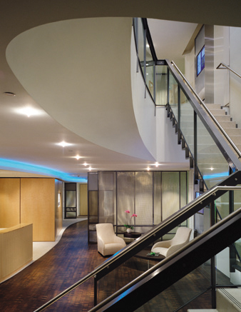 Main Reception in Water Quadrant,View Toward Stair, Upper Level and Elevator Lobby