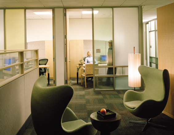 Earth Work Area Quadrant, View of Informal Meeting Area, Workstations and Private Offices