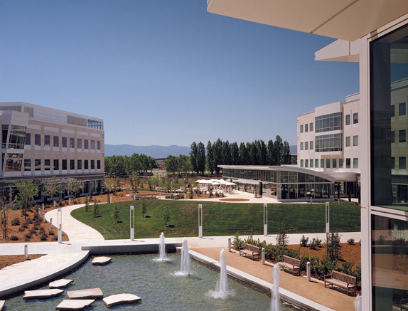 Exterior Campus Courtyard with Fountains